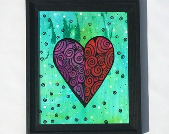Healing Heart Painting - Original Mixed Media Collage Painting - Love Art - Red, Purple, Blue Green Framed Wall Art Decor by Claudine Intner