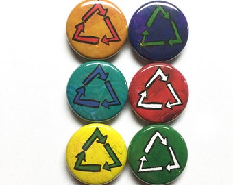 Recycling Magnets or Pins - Recycle Fridge Magnet Set or Pinback Buttons - Earth Day, March for Science, Environmental, Environmentalist