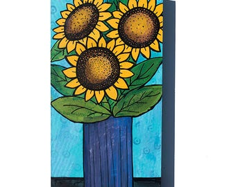 Sunflower Painting - Original Flower Mixed Media Art - Floral Wall Art Decor by Claudine Intner - Yellow and Blue