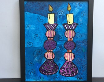 Shabbos Candles Painting - Shabbat Candle Art - Original Mixed Media Art - Jewish Wedding Gift - Wall Art Decor, Judaica by Claudine Intner