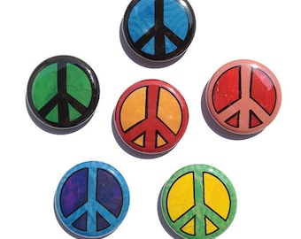 Peace Sign Magnets or Peace Sign Pins - Set of 6 - 1 inch Multicolor Peace Magnet, Peace Pinback Buttons, Peace Symbol, fridge magnet button