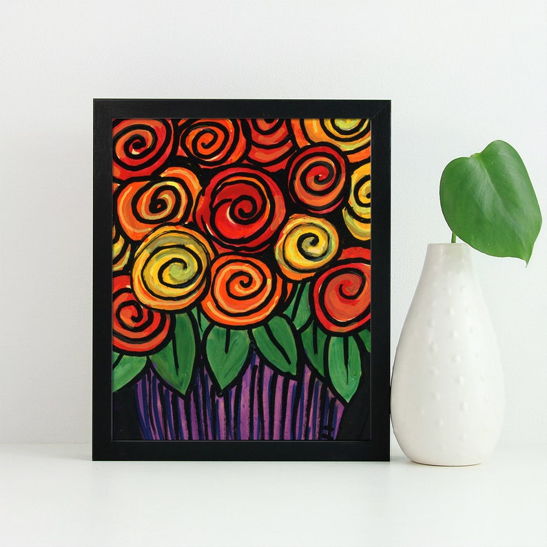 Yellow Red Bright Colors Whimsical Rose Print Orange Flowers on Purple Abstract Floral Art Giclee