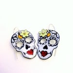Enameled Sugar Skull Earrings with flower of your choice!
