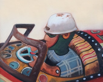 Racing Car Vintager Antique Tin Toy, Original Oil Painting