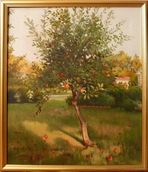 Oil Painting Apple Tree Summer Back Yard Ann Miller