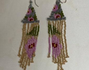Bead woven earrings - fleur - FREE SHIPPING