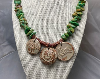 Turquoise and pottery medallion necklace