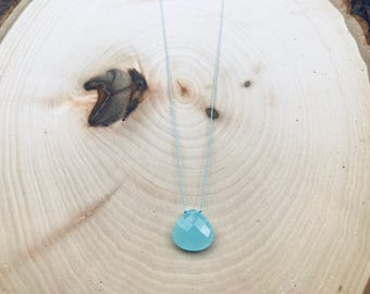 Chalcedony teardrop necklace