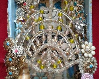 Virgin Mary Cigar Box Altar, Shrine, One of a Kind Original Artwork - Repurposed, Recycled, Found Object Mosaic - Handmade Ex Voto,