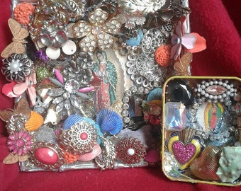 Guadalupe Altars, Shrines with Sacred Heart - Set of Two -  Original Artwork, Repurposed, Recycled, Found Object Mosaics - Handmade Ex Votos
