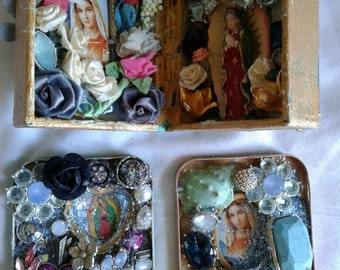 Sacred Heart, Guadalupe Altar, Shrines - Set of Three  Original Artwork, Repurposed, Recycled, Found Object Mosaics - Handmade Ex Votos