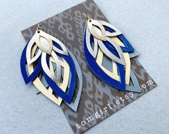 Navy, Grey and Metallic Leather Earrings