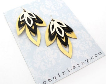 Hand Cut Gold, Black and Silver Leather Earrings