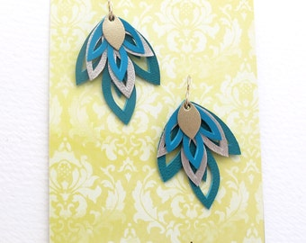 Hand Cut Leather Blue Earrings