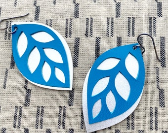 Turquoise and Silver Hand Cut leather Leaf Earrings