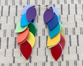 Rainbow Leather Cascade Earrings