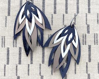 Hand Cut Leather Earrings Black Silver Bronze