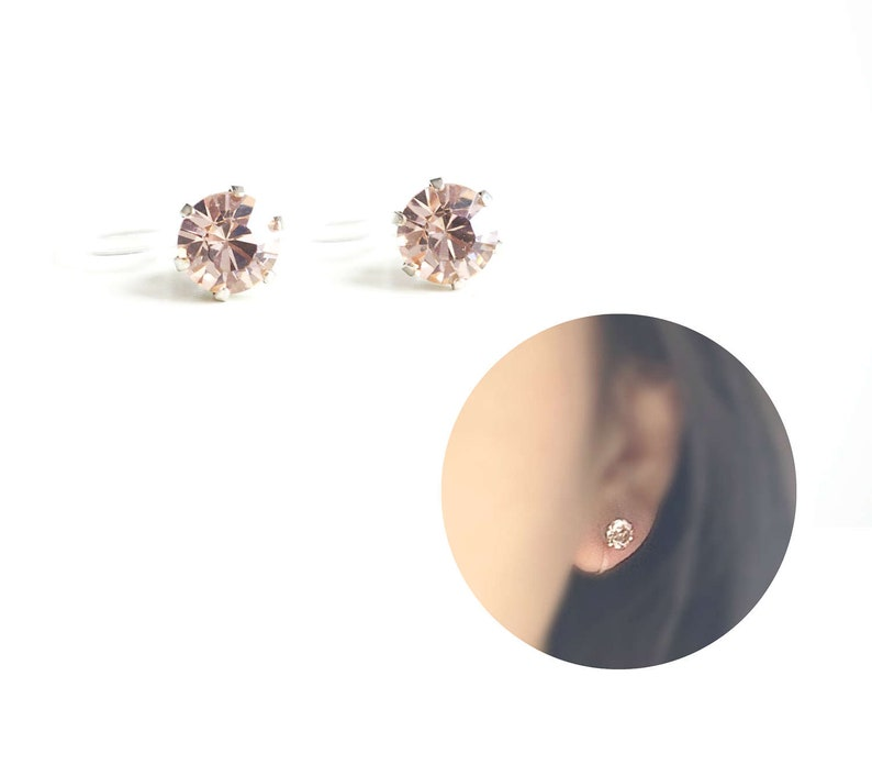 6mm Swarovski Crystal Invisible Clip On Stud Earrings. image 0