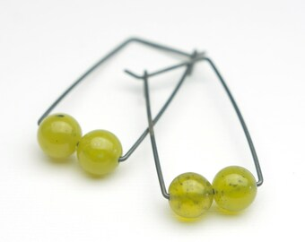 Perch Sterling Lime Jade Globe Earrings