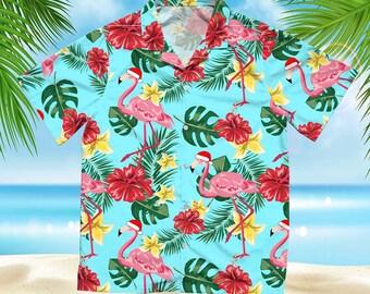 Funny Christmas Hawaiian Shirt, Flamingo Christmas Hawaiian Shirt Beach Shirt, Palm Trees Shirt, Flamingo Hawaiian Short and Button NGhow1
