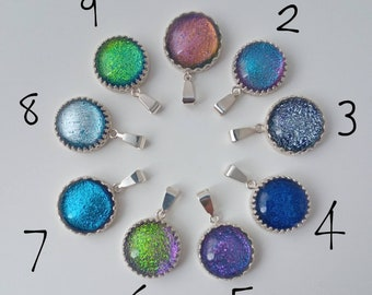Sterling silver and Fused dichroic glass pendant