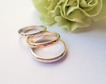 9ct gold or silver wedding ring Recycled Gold UK hallmark Hammered polished or satin finish Choice of widths and sizes Handmade to order