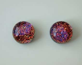 red purple dichroic glass and sterling silver post and scroll earring studs