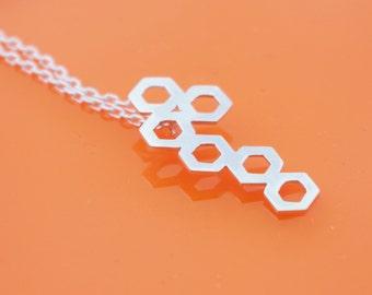 Diatom Inspired hexagon pendant and chain