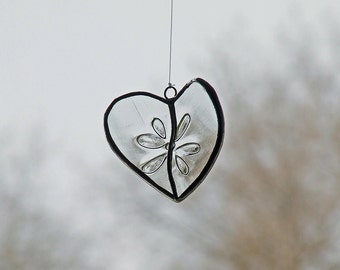 Reclaimed Glass Transparent Heart from Exotic Wine Bottle - Unique Wedding Gift, Embossed Flower