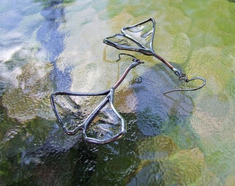 Recycled Glass Ginkgo Leaf Earrings - Statement Jewelry - Nature Inspired Eco Friendly Jewelry