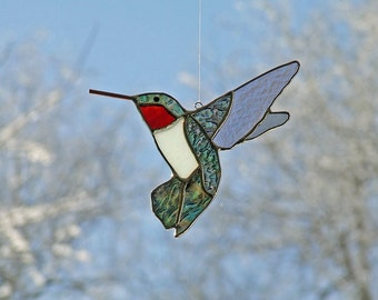 Ruby Throated Hummingbird, Stained Glass Sun-catcher, Unique Gift
