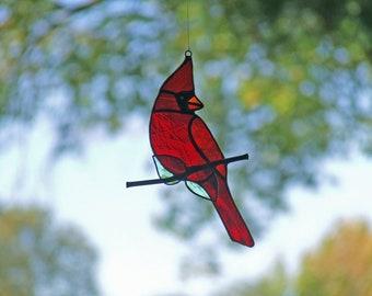 Northern cardinal - Cardinalis cardinalis - Stained Glass Sun Catcher - Christmas Time's A Coming