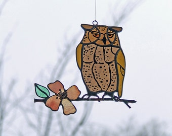 Stained Glass Owl on Flowering Dogwood Branch