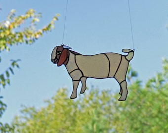 Stained Glass Goat, Unique Home Decor, Boer Goat Trend - Rural Farm Gift