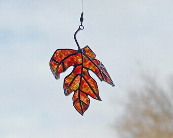 Stained Glass Leaf, Painted Maple Leaf from Clear Beer Bottle Glass - Eco Friendly Gift