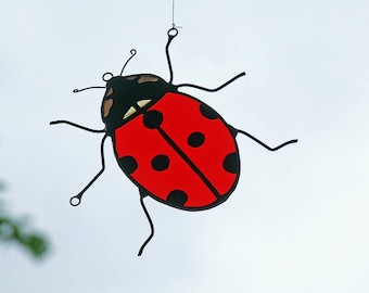 Nature Inspired Gift - Stained Glass Ladybug - Hand Painted - Unique Home Decor