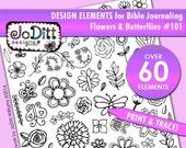 Hand Drawn Flower Clipart, Flowers, Butterflies, Doodle Clipart, Design Elements for Bible Journaling, Floral Clipart