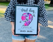 First Day of School Sign 9th grade Girls, Floral Back to School Sign, 1st Day of High School, Ninth Grade, Freshman Sign, Girl Photo Props