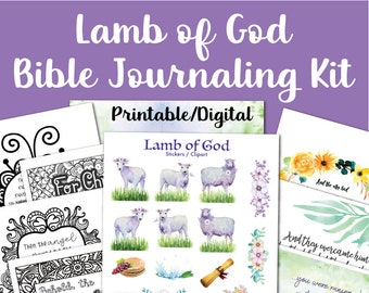 Easter Printable Bible Journaling Kit, Bible Reading Plan, Scripture Writing Prayer Journal + Bible Verse Coloring Pages, Wall Art, Stickers