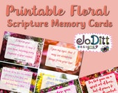 Scripture Memory Cards/Project Life Cards, Bible Verse Cards/Printable Journaling Cards, Bible Journaling / Set of 12 Journal Cards
