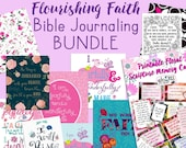 Bible Journaling Kit - Flourishing Faith Bible Journaling Printables, Bible Tabs, Coloring Pages, Journaling Cards, Bible Verse Wall Art
