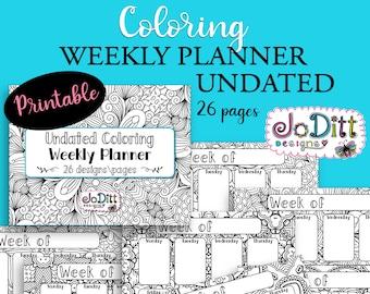 Undated Weekly Planner Printable - Coloring Calendar - 26 Pages - Landscape Planner - Coloring Pages for Adults - Printable Weekly Calendar