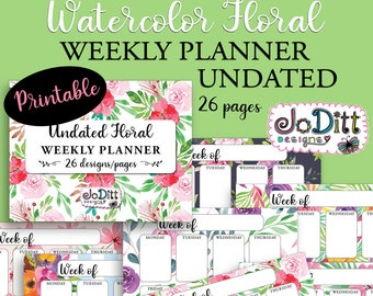 Undated Weekly Planner Printable with Watercolor Floral Backgrounds - Letter Size Landscape Weekly Calendar, Vertical Planner - 26 Pages