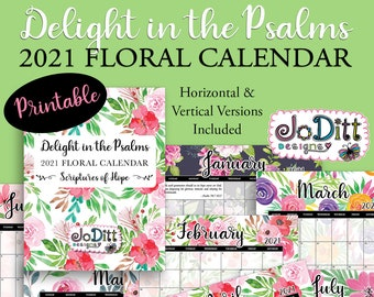 2021 Printable Calendar with Scripture Quotes, Watercolor Floral Wall Calendar, Landscape & Vertical Monthly Planner, Bible Verse Wall Art
