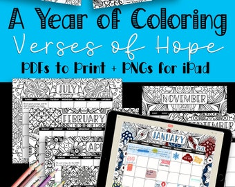 2021 Printable Calendar Coloring Pages for Adults - Bible Verse Wall Calendar Vertical, Christian Digital Planner PNG, Monthly Faith Planner