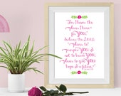 Jeremiah 29:11 Bible Verse Wall Art Dorm Decor, For I Know the Plans I Have for You, College Student Gift, Scripture Art for Girls Dorm Room