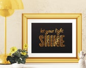 Let Your Light Shine Gold Foil Print, Bible Verse Wall Art, Inspirational Quotes, Baptism Gift, Church Wall Decor --FREE US SHIPPING--