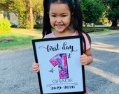 1st Day of 1st Grade Sign, First Day of School Sign Printable, 1st Day of School Sign, Teacher Sign, Back to School Sign First Grade Girl