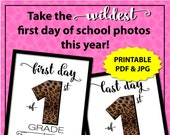 Leopard Print First Day of First Grade Sign, First Day of School Sign Printable, First and Last Day of School Sign, 1st Day of School Sign