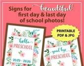 First Day of Preschool Sign, First Day of School Sign Preschool Girl, 1st Day of School Sign Printable, Back to School Sign Instant Download